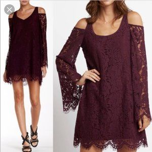 Chaser Purple Burgundy Lace Bell Sleeve Dress
